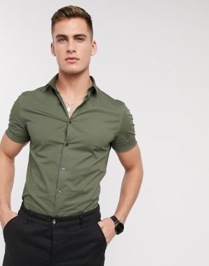 Обтягивающая рубашка из поплина цвета хаки с короткими рукавами New look-Зеленый Look