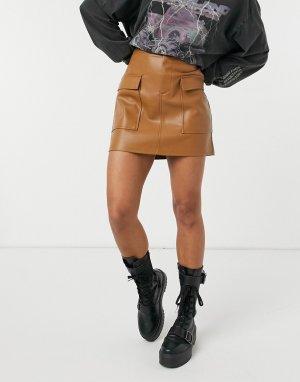 Светло-коричневая мини-юбка из искусственной кожи -Бежевый BB Dakota