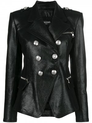 Double-breasted leather jacket Balmain. Цвет: черный