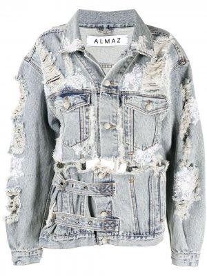 Джинсовая куртка с эффектом потертости Almaz. Цвет: серый