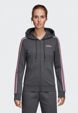 Толстовка adidas W E 3S FZ HD. Цвет: серый