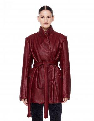 Утепленная бордовая куртка на поясе Isaac Sellam