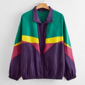 Контрастная куртка ветровка размера плюс с молнией SHEIN. Цвет: многоцветный