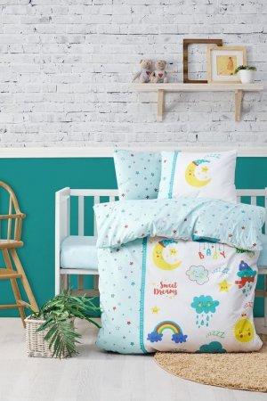 Baby quilt cover set Cotton box. Цвет: white, mint,