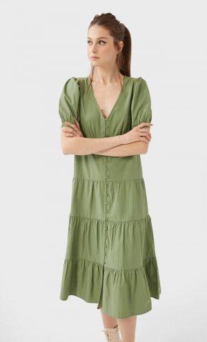 Длинное Платье Из Поплина Женская Коллекция Зеленый M Stradivarius. Цвет: зеленый