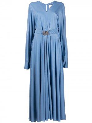 Длинное платье с поясом и стразами Valentino. Цвет: синий