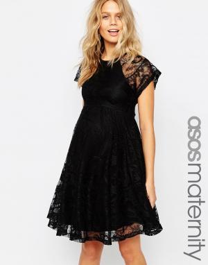 Кружевное приталенное платье для беременных с рукавами-бабочка ASOS Maternity. Цвет: черный