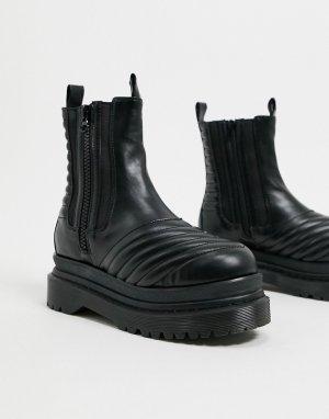 Черные ботинки на массивной плоской подошве -Черный Jeffrey Campbell