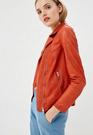 Куртка кожаная Blouson CHIODO NAPPA PARIS. Цвет: оранжевый