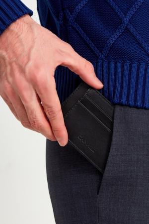 Черный кожаный чехол для карт Canali. Цвет: черный