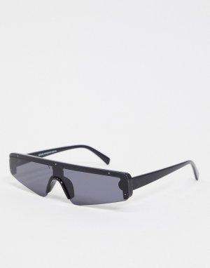 Черные узкие солнцезащитные очки-маска -Черный New Look