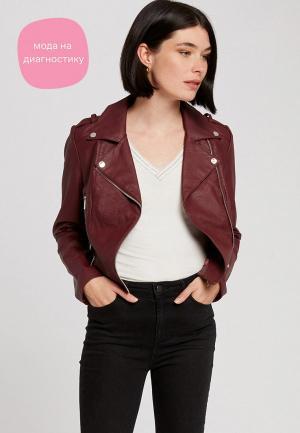 Куртка кожаная Morgan. Цвет: бордовый