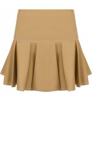 Однотонная мини-юбка с контрастной прострочкой Chloé. Цвет: хаки