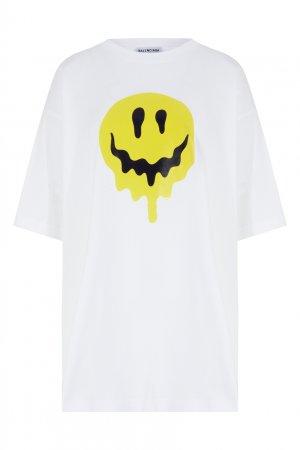 Белая объемная футболка со смайлом Balenciaga. Цвет: белый