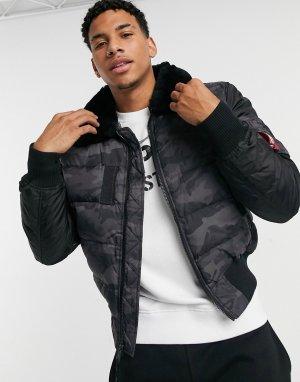 Черная нейлоновая куртка с камуфляжным принтом -Черный Alpha Industries