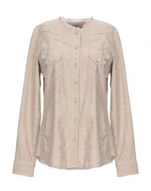 Джинсовая рубашка PENCE. Цвет: бежевый