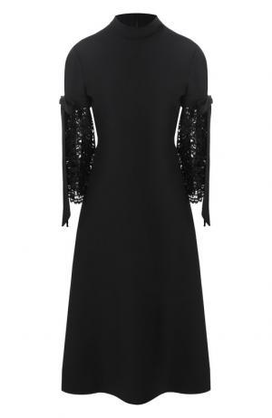 Платье-миди из смеси шерсти и шелка Valentino. Цвет: черный