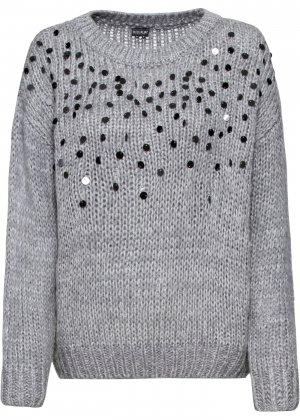 Пуловер с пайетками bonprix. Цвет: серый
