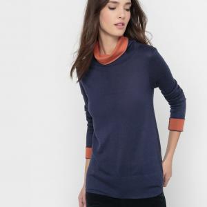 Пуловер двухцветный, воротник-хомут, шерсть в составе La Redoute Collections. Цвет: черный