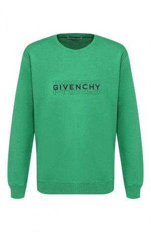 Хлопковый свитшот Givenchy. Цвет: зеленый