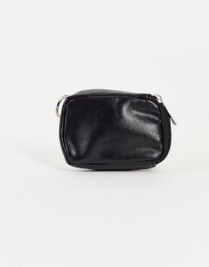 Брелок для ключей из искусственной кожи с кошельком мелочи и кредитницей -Черный цвет SVNX