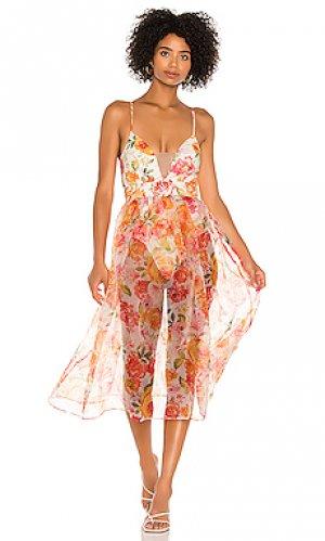 Платье миди peony For Love & Lemons. Цвет: розовый