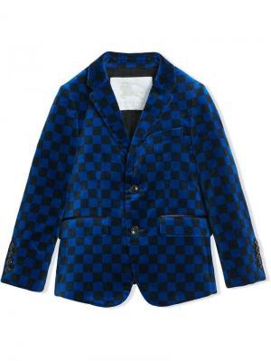 Бархатный пиджак в шашечку Burberry Kids. Цвет: синий