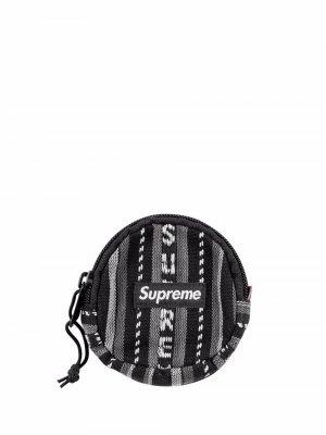 Полосатый кошелек для монет Supreme. Цвет: черный