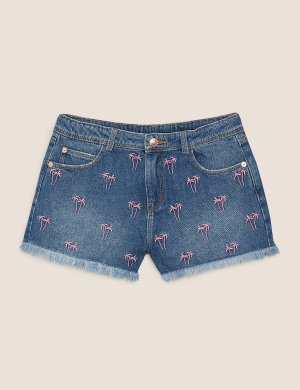 Джинсовые шорты с вышитыми пальмами Marks & Spencer. Цвет: деним