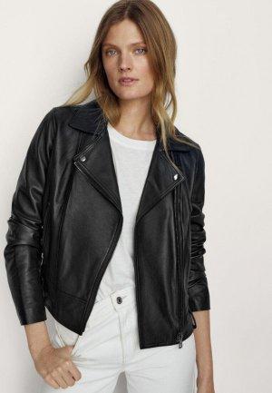 Куртка кожаная Massimo Dutti. Цвет: черный