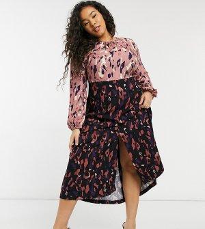 Платье мидакси с длинными рукавами, сборками и леопардовым принтом -Многоцветный Closet London Plus