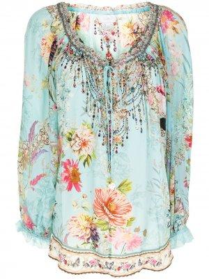 Блузка с цветочным принтом Camilla. Цвет: синий