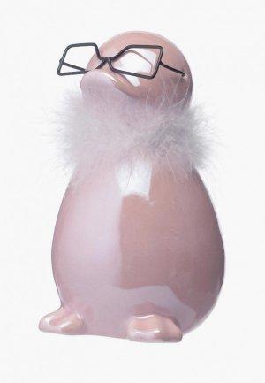 Фигурка декоративная Decogallery Пингвин в очках. Цвет: розовый