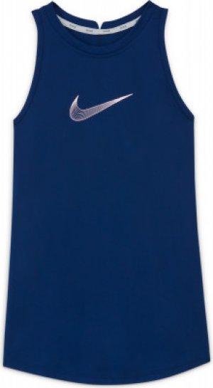 Майка для девочек Dri-FIT Trophy, размер 128-137 Nike. Цвет: синий
