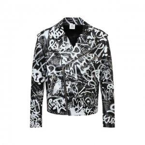 Кожаная куртка VETEMENTS. Цвет: чёрно-белый