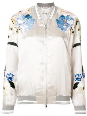 Куртка-бомбер с цветочным принтом 3.1 Phillip Lim. Цвет: серый