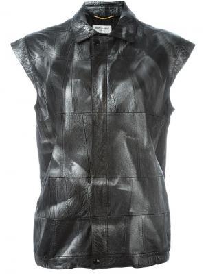 Кожаная куртка без рукавов Saint Laurent. Цвет: чёрный