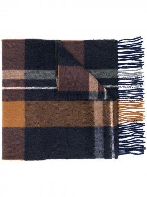 Клетчатый шарф с бахромой Begg & Co. Цвет: синий