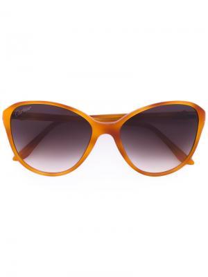 Крупные солнцезащитные очки формы кошачий глаз Cartier. Цвет: желтый