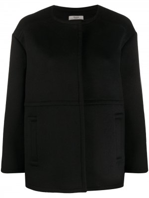 Однобортное пальто оверсайз Prada Pre-Owned. Цвет: черный
