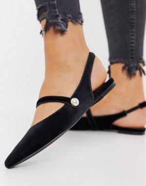 Черные бархатные балетки с ремешком на пятке в стиле Мэри Джейн ASOS DESIGN Lacey-Черный