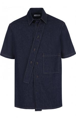 Джинсовая рубашка свободного кроя с короткими рукавами Valentino. Цвет: темно-синий