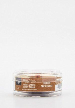 Свеча ароматическая Woodwick мини, Кожаный портсигар, 31 г. Цвет: коричневый