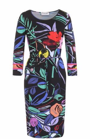 Платье-миди с цветочным принтом и поясом Leonard Paris. Цвет: черный