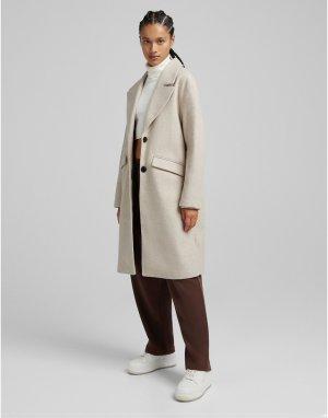 Классическое кремовое пальто -Белый Bershka