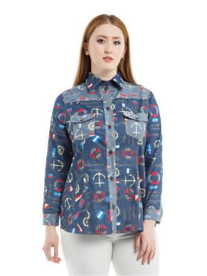Рубашка Джинсовая xLady. Цвет: синий