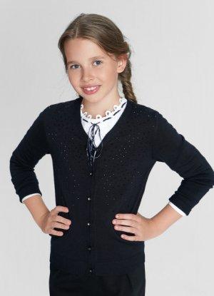 Кардиган для девочек O`Stin. Цвет: черно-синий