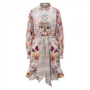 Шелковое платье Camilla. Цвет: розовый