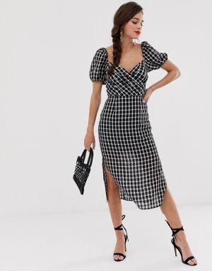Платье миди в клетку -Черный Finders Keepers
