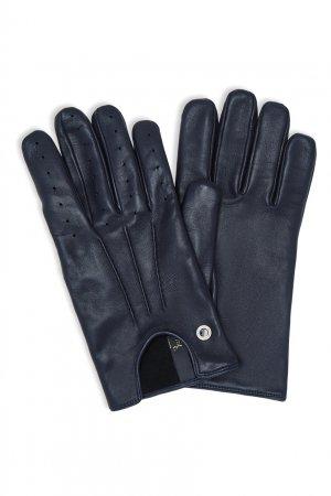 Короткие кожаные перчатки темно-синего цвета Billionaire. Цвет: синий